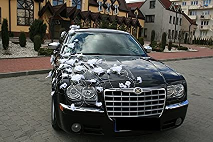 Wedding Car Decorations Feathers Kit Ribbons White Prom