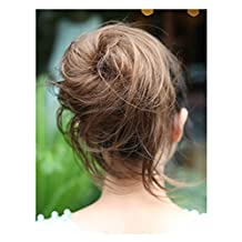 X&Y ANGEL Women Wave Hair Bun Hairpiece Clip-on Hairdo Scrunchie Ponytail Wig Hair Extension (Light Brown)