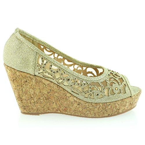 Mujer Señoras Noche Fiesta Peeptoe Diamante Tacón de Cuña Sandalias Zapatos Talla Oro