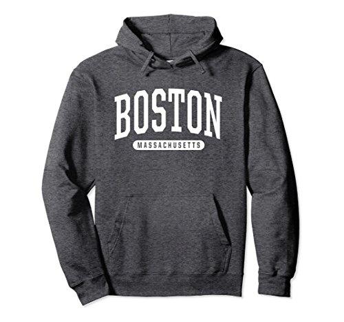 Unisex Boston Hoodie Sweatshirt College University Style Mass USA Large Dark Heather