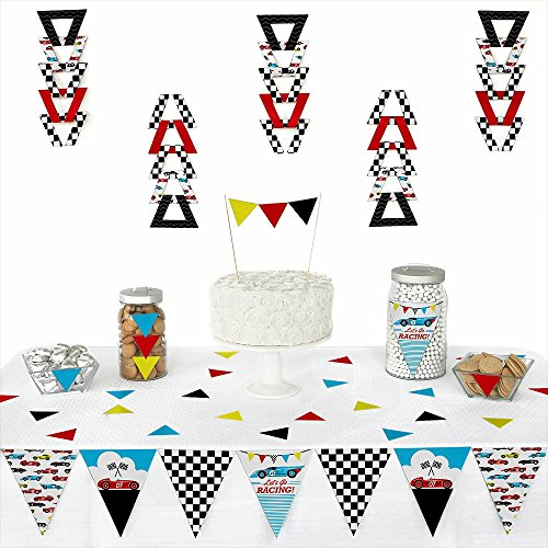 (Big Dot of Happiness Let's Go Racing - Racecar - Triangle Race Car Birthday Party or Baby Shower Decoration Kit - 72)