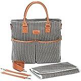 Premium Canvas Diaper Bag. Waterproof Changing Pad. Crossbody & Stroller. Unisex for Mom & Dad (Black)