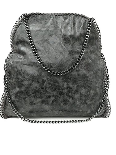Handtasche VIVIEN Lederlook Damen Schultertaschen mit Kette (Dunkelgraue)