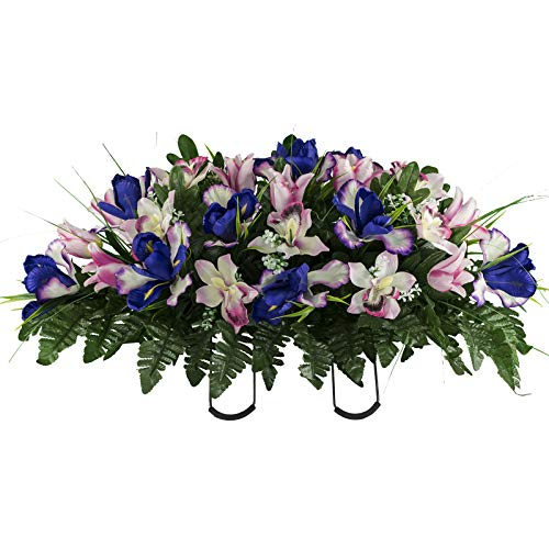Sympathy Silks Artificial Cemetery Flowers – Realistic Vibrant Tulips, Outdoor Grave Decorations - Non-Bleed Colors, and Easy Fit - Cream Pink Tulip ()