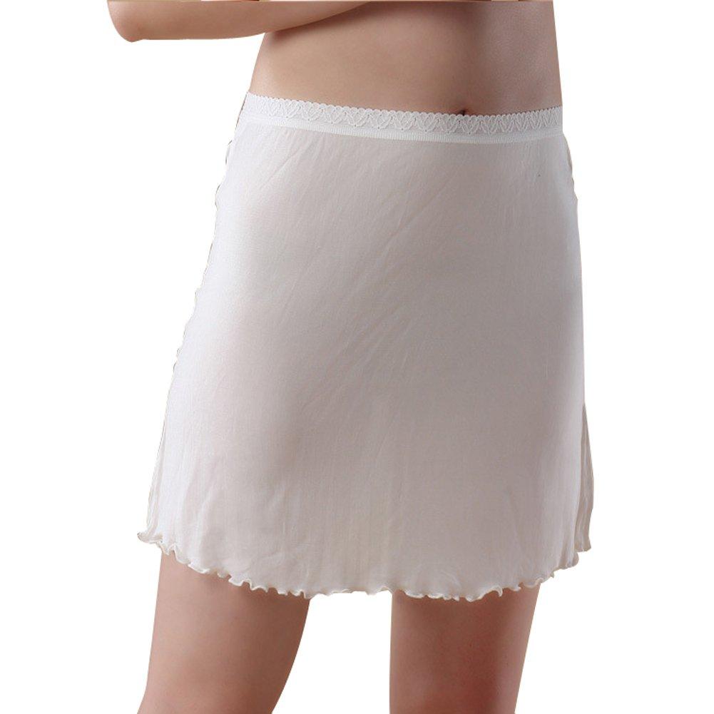 Hoffen 100% Silk Women's Half Slips Solid Petticoat