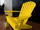 Poly Recycled Plastic Adirondack Chair with Two Cupholder-Yellow