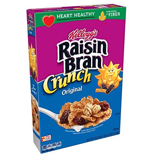 Kelloggs Raisin Bran Crunch, Breakfast Cereal, Original, Good Source of Fiber, 18.2 oz Box(Pack of 4)