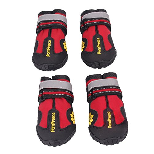 [Koolee Waterproof Dog Boots Non-slip for Medium to Large Dogs Labrador Husky Shoes, Red (8)] (Womens Army Costumes Australia)