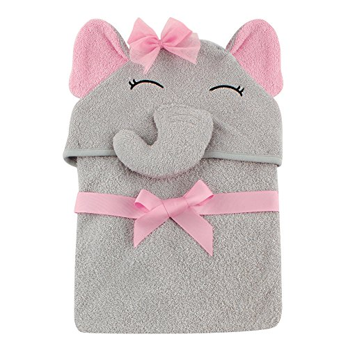 Large Product Image of Hudson Baby Animal Face Hooded Towel for Girls, Pretty Elephant