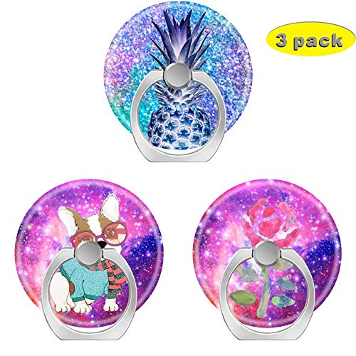 Cell Phone Holder Socket,Finger Ring Pop Kickstand with Car Mount Grip for Phones,Cases,Tablets Pink Purple Galaxy Glitter Blue Pineapple Nebula Stars French Bulldog Rose Watercolor]()