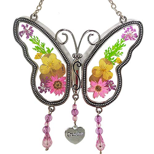 Grandma Butterfly Suncatcher with Real Pressed Flowers