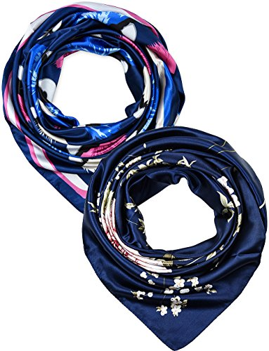 2 Pcs 35 Inches Silk Feeling Navy Eyes and Flowers Design Square Scarf Hair Scarves ()