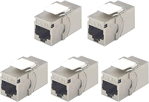 FTP T-66A1-5 CablesOnline 5-Pack CAT.6A Gigabit Modular Inline Coupler Female to Female Shielded Silver