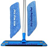 Multi-Function Multi-Method Small 4×16 Inch Mop kit is a Commercial Grade Microfiber Wet or Dry Mop with 2 no Bonnet but Velcro, 3 disposable Microfiber Pads, and a Pole Extending to 72 Inches.