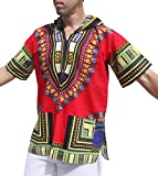 Full Funk Dashiki Light Hoody In Bright Colors Festival Party Shirt Short Sleeve, X-Small, Red