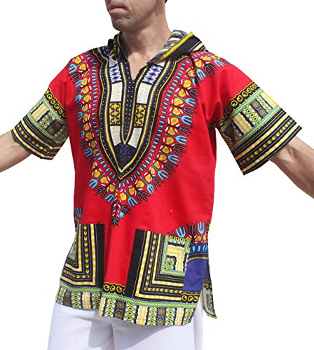 Full Funk Dashiki Light Hoody In Bright Colors Festival Party Shirt Short Sleeve, X-Small, Red by Full Funk