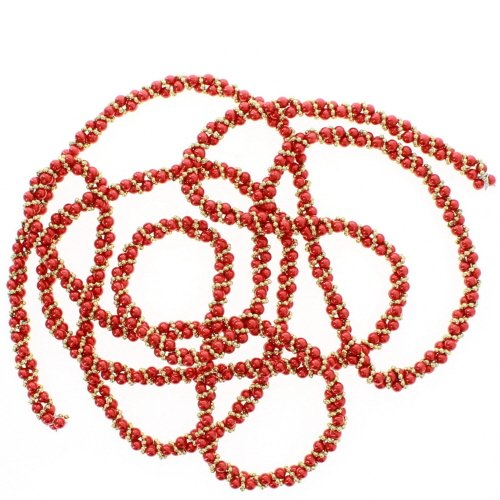Kurt Adler Red and Gold Bead Twisted Garland 9 Feet (Twisted Christmas Garland)