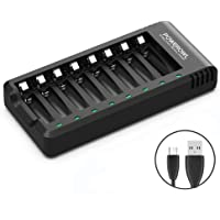POWEROWL 8 Bay AA AAA Battery Charger (USB High-Speed Charging, Independent Slot) for Ni-MH Ni-CD Rechargeable Batteries (No Adapter)