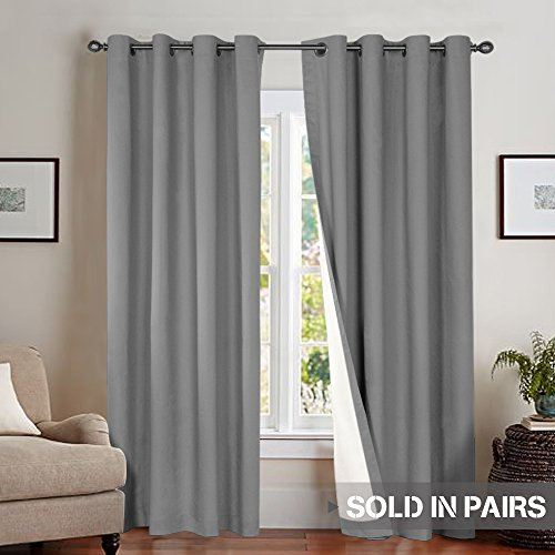 Moderate Blackout Curtains for Bedroom 84 inch Length Therma