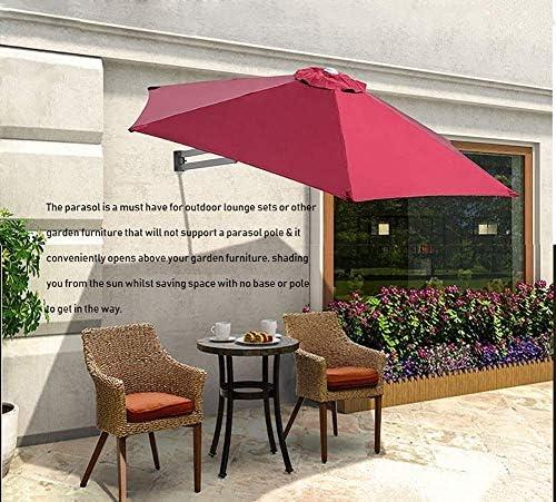 パラソルウォールマウントパティオパラソル-屋外ガーデンバルコニーティルティングサンシェードパラソル、アルミポール、Ø8ft / 250cm(カラー:グリーン)