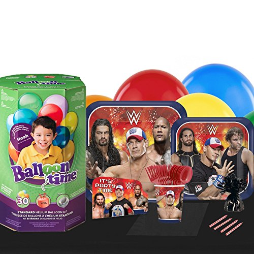 WWE Never Give Up Deco Kit 16 Guest Party Pack - Tableware & Helium Tank by BirthdayExpress