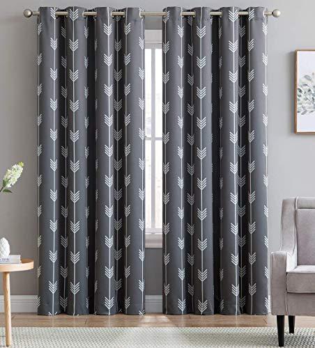 HLC.ME Arrow Printed Blackout Room Darkening Thermal Grommet Window Curtain Drape Panels for Kids Room - Set of 2 - Grey - 63 inch Long