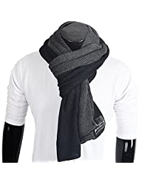 FORBUSITE Men Knit Long Winter Scarf Soft Dark Grey E5002