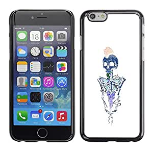 Shell-Star Arte & diseño plástico duro Fundas Cover Cubre Hard Case Cover para Apple iPhone 6(4.7 inches) ( Skeleton Brains White Blue Metal )
