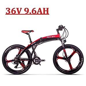 eBike_RICHBIT 26 '' Bicicleta eléctrica Plegable, RLH-880, 250w 36V 9.6AH e Bicicleta, Frenos de Disco hidráulicos Ciclismo (Negro-Rojo)
