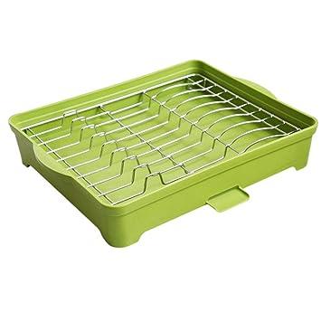 egoera® Cocina Fregadero de acero inoxidable Secado escurridor para platos  soporte escurreplatos con bandeja 21ee4a975b61