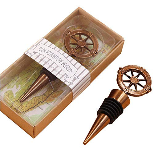 12PCS Wedding Favor for Guests,Antique Bronze Our Adventure Begins Compass Wine Bottle Stopper Beer Wine Cork Plug Champagne Beverage Saver for Party Souvenirs Supplies Decor by WeddP (Compass Bronze)