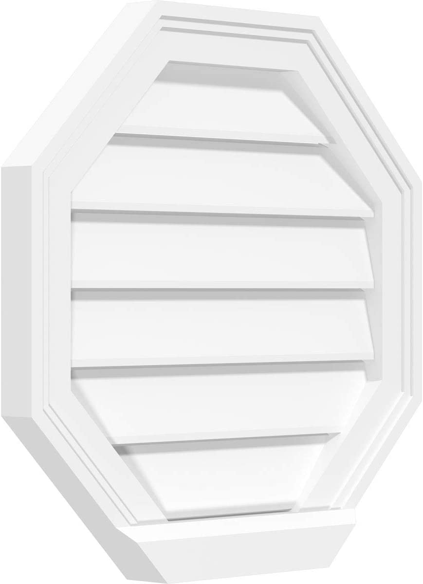 Ekena Millwork GVPOC16X1603SN Octagonal Surface Mount PVC Gable Vent 16 W Inch x 16 H Inch Factory Primed White