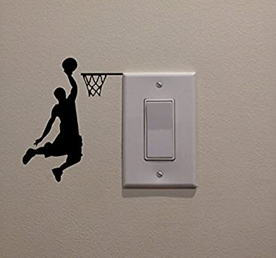 YINGKAI Male Basketball Player Dunking on Light Switch Decal Vinyl Wall Decal Sticker Art Living Room Carving Wall Decal Sticker for Kids Room Home Window Decoration