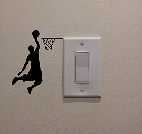 YINGKAI Male Basketball Player Dunking on Light Switch Decal Vinyl Wall Decal Sticker Art Living Room Carving Wall Decal Sticker for Kids Room Home Window Decoration -