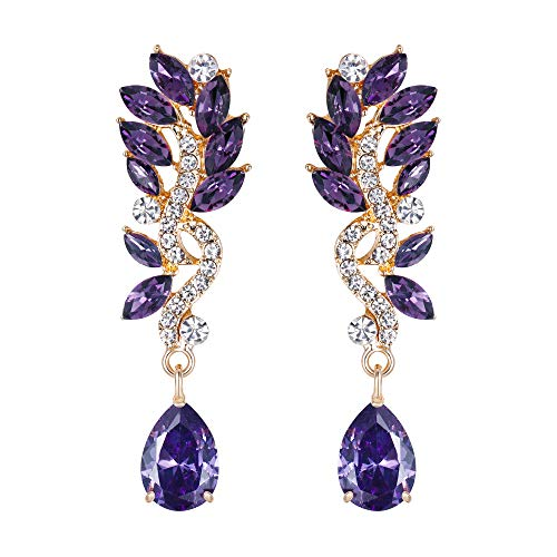 EVER FAITH Women's Austrian Crystal Boho Chandelier Teardrop Marquise Dangle Earrings Purple Gold-Tone