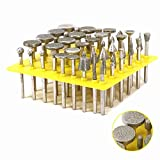 50Pcs 80 Grit Diamond Grinding Head Glass Burr For Dremel with 1/8'' Shank Rotary Tools for Grinding Glass,Tiles,Marble,Jewelry or Rock on The Edge