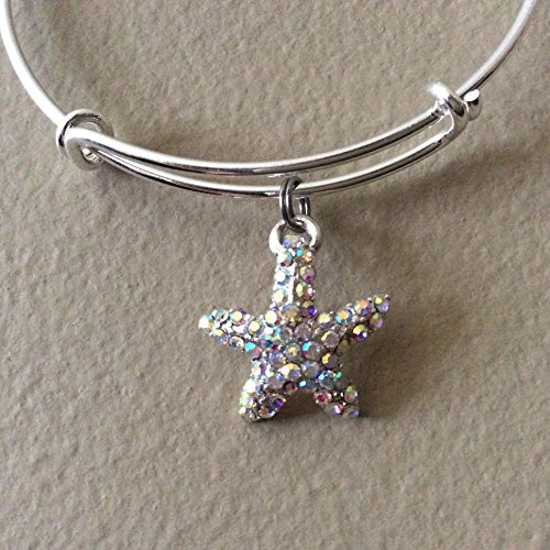 Dazzling Starfish Rhinestone Crystal Expandable Charm Bangle (Zirconia Bracelets Fish)
