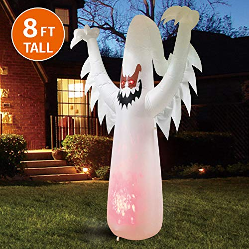 20 Ft Inflatable Halloween Cat (Joiedomi Halloween 8 FT Inflatable Ghost on Fire with Build-in LEDs Blow Up Inflatables for Halloween Party Indoor, Outdoor, Yard, Garden, Lawn)