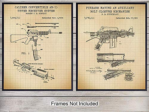AR-15, M-16 Gun Patent Art Prints – Vintage Weapon Wall Art Poster Set – Home Decor for Man Cave, Office, Living Room, Game, Family Room – Gift for 2nd Amendment, NRA, Military, Firearms, Rifle Fans