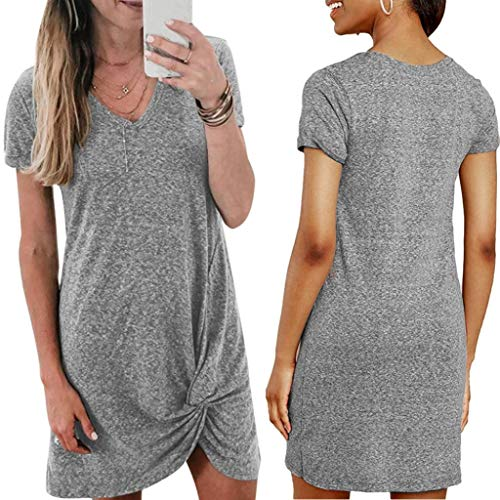 XKSIKjian Women's Dresses,Summer Casual Lady Solid Color V Neck Side Knot Short Sleeve T-Shirt Mini Dress Date Party Gown