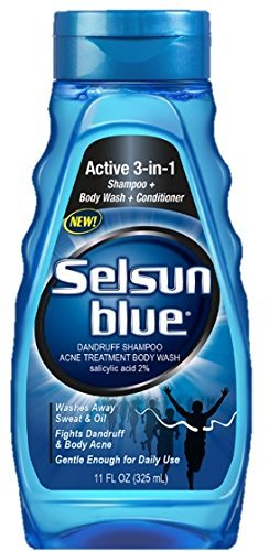 Selsun Blue Active 3-in-1 Body Wash, Shampoo and Conditioner, for Dandruff and Acne, 11 Ounces Each, Pack of 4 ()