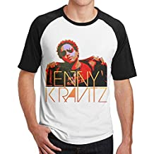 Geneva F Men's Lenny Kravitz Short Sleeve Raglan Baseball Tshirt Black