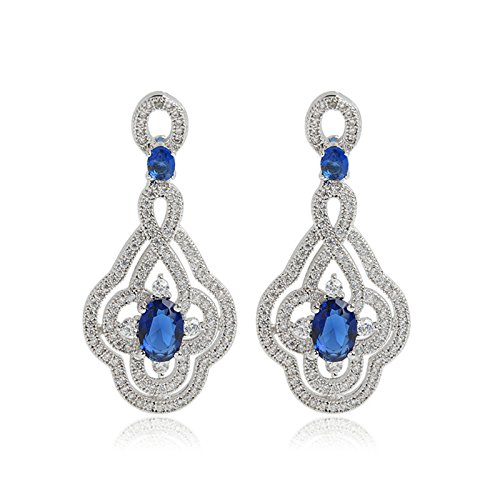 Gnzoe Jewelry Women White Gold Plated Drop Earrings 4-Prong Blue Cubic Zirconia Round Oval Shape Dangle 26x17MM