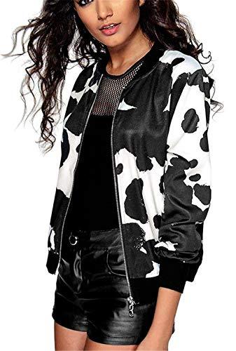 Con Relaxed Primaverile Autunno Lunghe Fashion Casuale Outwear Cerniera Da Ragazze Chic Bomber Eleganti Giacche Maniche Lounayy Leggero Stampato Schwarz Donna Giacca Aviatore dPqU6wnFnI
