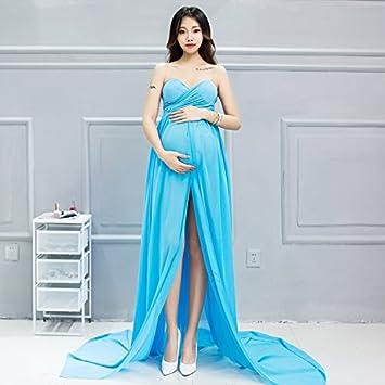 2pcs maternidad fotografía Props gasa ácido azul embarazadas vestido largo de las mujeres yfz012