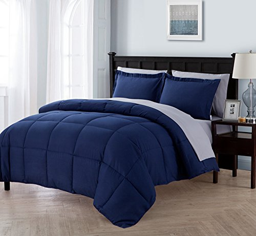 - Queen Size Complete BED-IN-A-BAG Reversible in Navy / Grey Contrasting Colors 7 Pc Set w/ Sheets