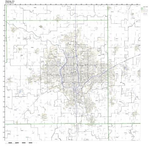 Wichita, KS ZIP Code Map Laminated by Working Maps
