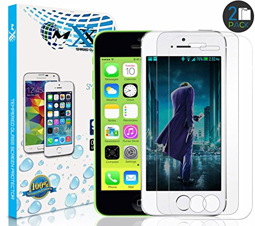 MXX iPhone SE Screen Protector - Premium Tempered Glass - 9H Hardness - HD Clarity for iPhone 5 / 5S / 5C / SE - (2-Pack)