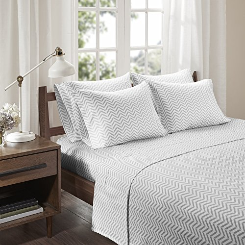 Gray White Chevron Pattern (Comfort Spaces - Ultra Soft Chevron Cotton Blend Jersey Knit Sheet Set - 4 Piece - Gray - Twin Size - Includes 1 Fitted Sheet, 1 Flat Sheet and 2 Pillow Cases)