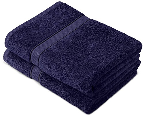 Pinzon by Amazon Lot de 2 draps de bain en coton Bleu marine